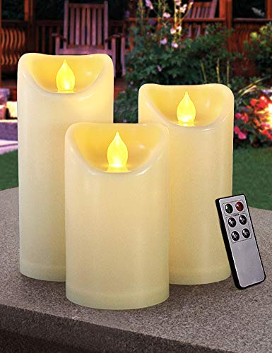 HOME MOST Set of 3 Outdoor LED Pillar Candles with Remote Timer - Outdoor Flameless Candles with Timer Waterproof 3x5 3x6 3x7 - Ivory Oblique Unscented Flickering Flameless Pillar Candles Outdoor