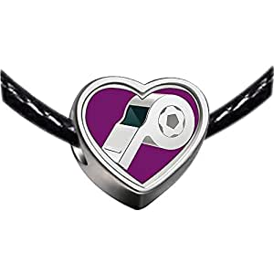 Chicforest Silver Plated UEFA Euro 2012 referee whistle Photo Heart Charm Beads Fits Pandora Charms