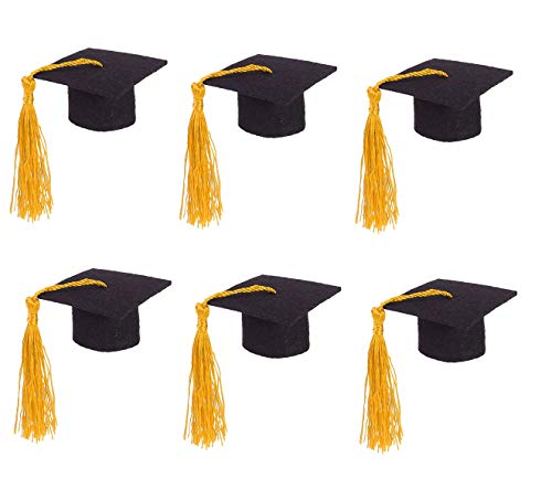 6PCS Graduation Cap with Tassels Wine Bottle Toppers Graduation Hat Graduation Party Table Decorations (Yellow)]()