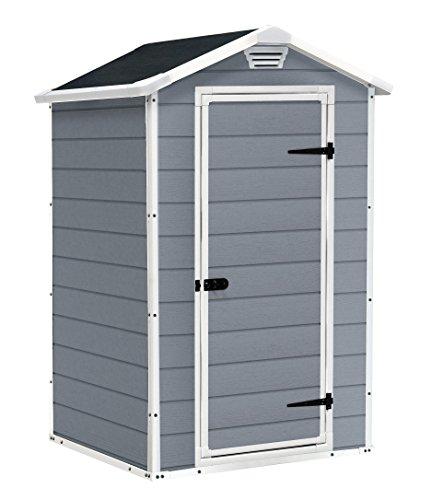 Keter Manor Vertical 4 x 3 ft Resin Outdoor Garden Storage Shed – Grey