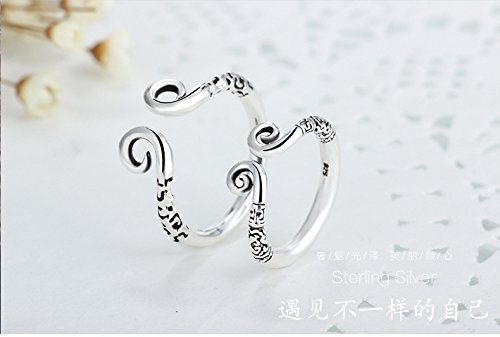 Generic 925 sterling silver rings for men and women Sun Wukong magic spell rings couple silver rings Thai Silver retro fashion