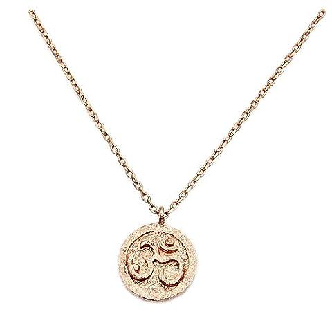 Rose Gold Over Solid Sterling Silver Om (Aum) Symbol Pendant Necklace