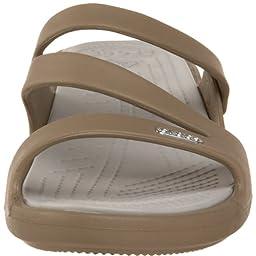 crocs Women\'s Patricia Mini Wedge,Khaki/Pearl,8 M US