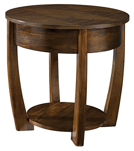 Cheap Hammary Concierge Round Medium Brown End Table