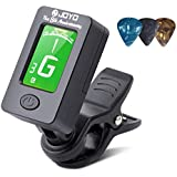 BROTOU Guitar Tuner Clip-On Tuner Digital Electronic Tuner Acoustic with LCD Display for Guitar, Bass, Violin, Ukulele (3 PCS Picks Included)