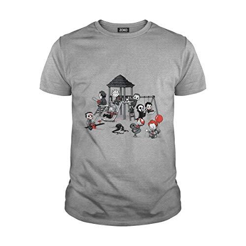 Zoko Apparel Men's Halloween Horror Chibi Movie T-Shirt (L, Sport Grey)