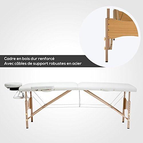 Noir Mecor Table de massage pliante Professionnelle Cosm/étique 2 zones pliables Pieds en Bois Hauteur R/églable pour Th/érapie//SPA avec Housse de Transport diverses couleurs au choix
