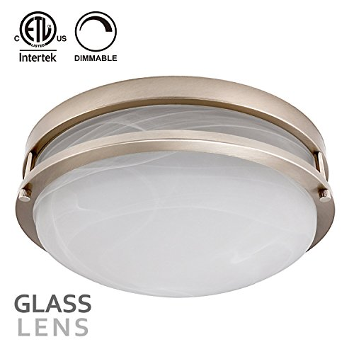12 Inch Glass Lens LED Flush Mount Ceiling Light, 18W(130W equivalent) 1200lm, 3000K Warm White, Satin Nickel Finish for Living Room/Corridor/Hallway/Kitchen/Stairways