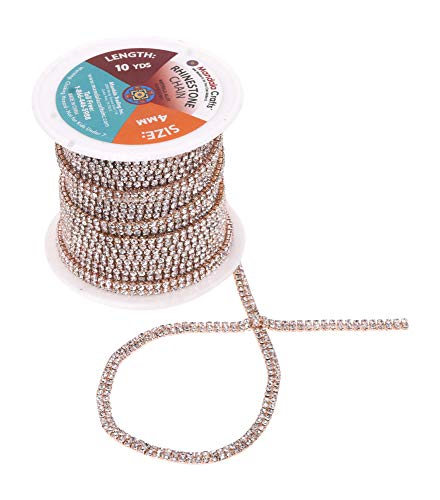Mandala Crafts Rhinestone Cup Chain Trim Roll for Jewelry Making, Glass Crystal Glam Decor, Simulated Diamond Bling Wraps, Veils, Cakes (2 Row 2mm 10 Yards 1 Roll, Rose Gold Tone Metal Clear)