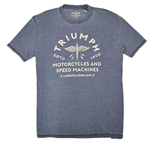 Lucky Brand Triumph Logo Motorcycles T-Shirt Short Sleeves, Blue (XL)