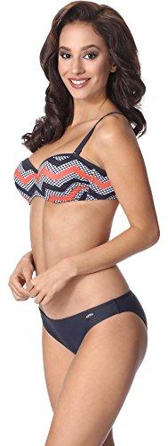 aQuarilla Bikini Conjunto para Mujer AQ131 Grafito/Blanco/Salmón