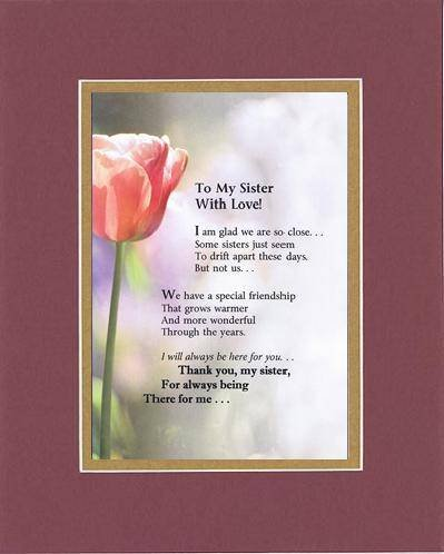 Amazoncom Touching And Heartfelt Poem For Sisters To My Sister