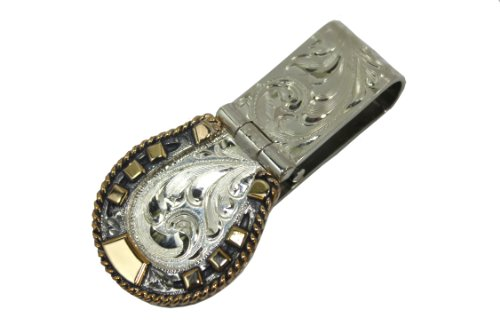 Engraved Horseshoe Hinged Western Money Clip from Vogt Silversmiths
