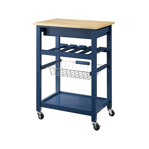 Kitchen Linon Home Decor Products Pascal Kitchen Cart, Denim with Wood Top modern kitchen islands and carts