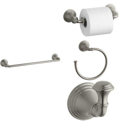 KOHLER Devonshire 4-Piece Bath Accessory Set with 18 in. Towel Bar - Vibrant Brushed Nickel 85%OFF