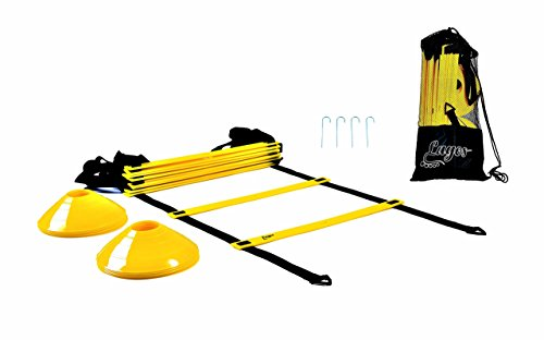 Kit Agility (Lagos Athletic Agility ladder by workout ladder + 10 cones + 4 metal hooks + carry bag | footwork set training kit, Speed ladder for FOOTBALL SOCCER BASKETBALL equipment | BONUS - FREE EBOOK DEAL!!)