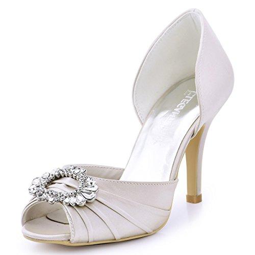 beige A2136 Toe sera fibbia Pumps Satin da Open Diamond Elegantpark sposa scarpe Block PwpFxP