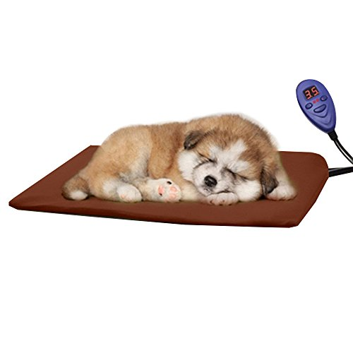 Udgtee Pet Heating Pad, Temperature Control Soft Dog Cat Heated Bed Electric Warmer Pad 40x30cm(Coffee) by Udgtee