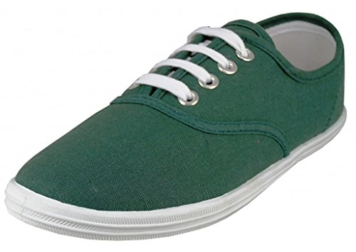 Easy USA - Womens Canvas Lace Up Shoe with Padded Insole Hunter Green-6