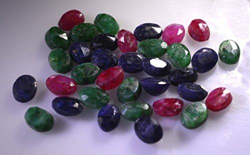 pierres précieuses en vrac rubi teints 1 pièces 5 x 7 mm ovale pierres précieuses facettes multiples