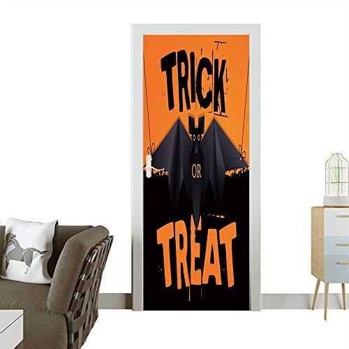 (Homesonne Modern Art Door Sticker Hanging Origami bat and Trick or Treat Halloween Text Environmentally Friendly Decoration W36 x H79)