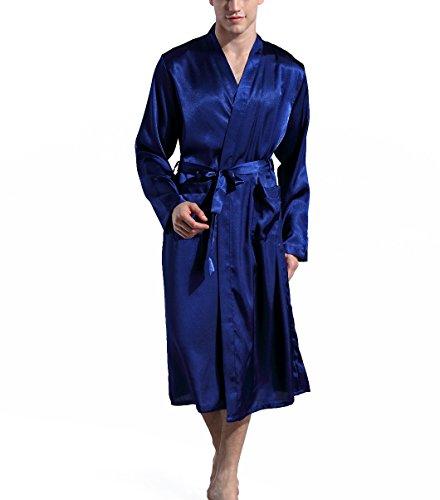 - Mobarta Men's Satin Kimono Robe Long Bathrobe Lightweight Loungewear Sleepwear Silk Nightwear Spa Bathrobes