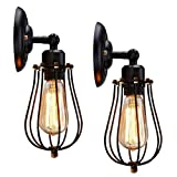 Wire Cage Wall Sconce, KingSo 2 Pack Dimmable Black Metal Industrial Wall Light Shade, Vintage Style Edison Mini Antique Fixture for Headboard Bedroom Farmhouse Garage Barn Door Porch