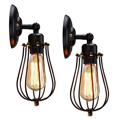 Wire Cage Wall Sconce, KingSo 2 Pack Dimmable Black Metal Industrial Wall Light Shade, Vintage Style Edison Mini Antique Fixture for Headboard Bedroom Farmhouse Garage Door Porch