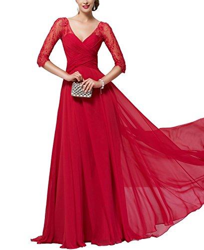 Piano Lunghezza Lunga Rosso Pizzo Champagne Vestito Di Bonbete Una Madre Della Sposa Linea Manica x465Y5w