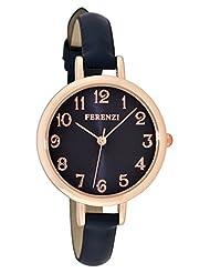 Ferenzi Women's | Elegant Large Navy Face Watch with Thin Navy Band | FZ15505