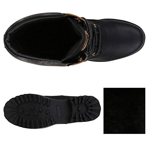 Stiefelparadies Damen Stiefeletten Worker Boots mit Blockabsatz Metallic Profilsohle Flandell Schwarz Schnürung