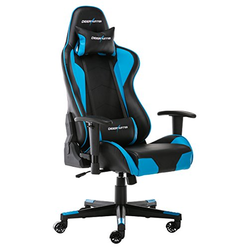Deerhunter Gaming Chair, Leather Office Chair, High Back Ergonomic Racing Chair, Adjustable Computer Desk Swivel Chair with Headrest and Lumbar Support - Blue Deerhunter