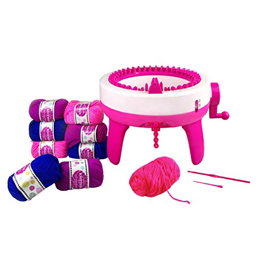 HaveFunMe Knitting Machine,with 9 Bundles of Wool and 40 Needle Positions for Kids and Beginners