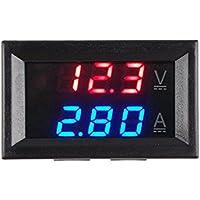 Calistouk DC 0–100V 10A LED Rouge Bleu Double Affichage numérique de la tension Ampèremètre pour un usage domestique Rouge + Bleu et 10A