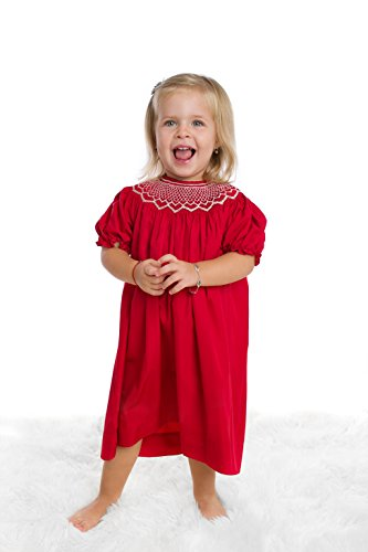Red Smocked Dress - 5