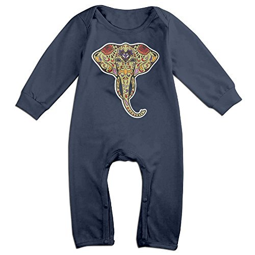 [HOHOE Newborn Babys Elephant Art Long Sleeve Bodysuit Outfits Navy 24 Months] (The Music Man Costumes For Sale)