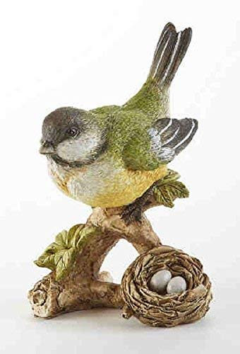 Delton Products 3.6 inches x 5.1 inches Resin Green Bird on Branch Collectible Figurine