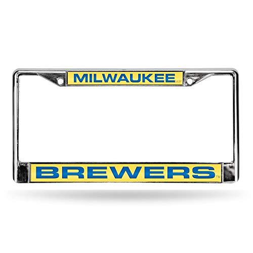 Rico Milwaukee Brewers Yellow MLB Chrome Metal Laser Cut License Plate Frame