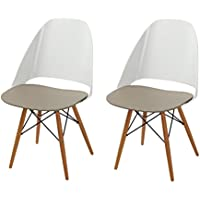 Adeco Sweet Treat Dining Chairs (Mocha Cream) (Set of 2)
