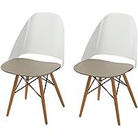 Adeco Sweet Treat Dining Chairs (Mocha Cream) (Set of 2)