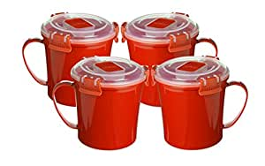 Sistema Soup Mug to Go Red - Set of 4