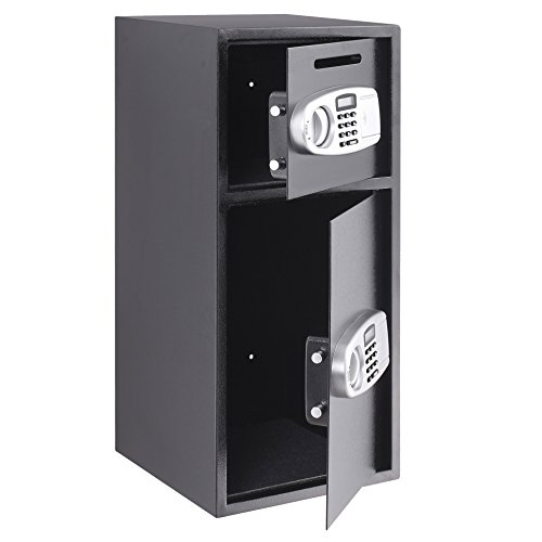 Happybuy Security Safe Box Digital Double Door Security Box Electronic Steel Security Safe For Cash Gun Jewelry Home Secure (double door) by Happybuy