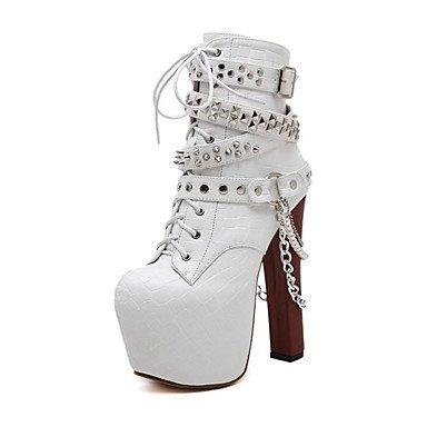 Confort Tacón Boda Casual Heart Otoño Botas Robusto Zapatos white Pump Innovador Mujer Semicuero Punta Primavera Invierno Metálica Para amp;M Básico wTf7qwA0