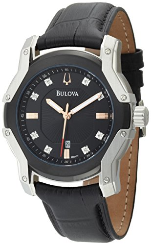 Black Diamond Dial Watch (Bulova Men's 98D117 Diamond Black Dial Strap Watch)