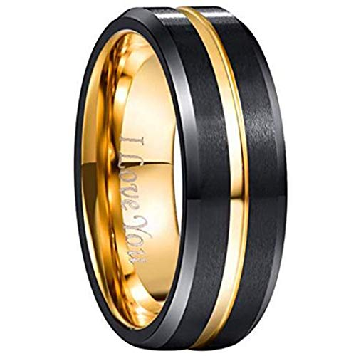 NUNCAD Tungsten Carbide Ring Men Women Black and Gold Wedding Band Engagement Ring 8mm Comfort Fit Engraved