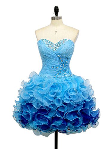 ALfany Charming Sweetheart A Line Short Colored Flouncing Homecoming Cocktail Party Dresses (10, Blue)