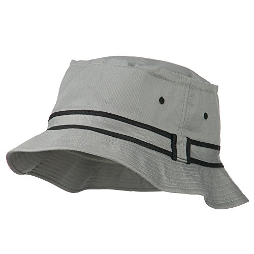 Otto Caps Striped Hat Band Fisherman Bucket Hat - Grey Black L-XL