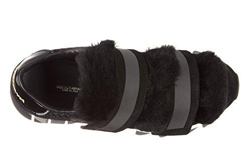 Noir en chaussures Dolce cuir noir amp;Gabbana capri femme baskets sneakers wPxRBxFSq