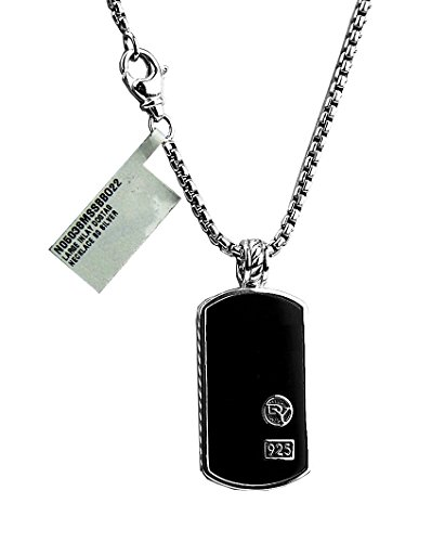 david-yurman-sterling-silver-large-35-mm-black-onyx-necklace-dog-tag-22-chain-pouch