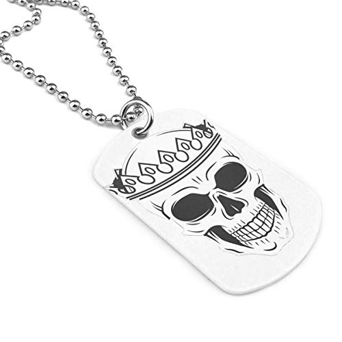 King Skull Dog Tag Military Air Force Necklace Ball Chain For Teens, Men & Women Zinc Alloy Military Necklace